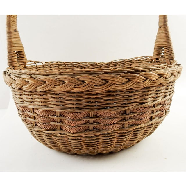 Boho Chic 1930s Boho Chic Woven Reed Basket For Sale - Image 3 of 7