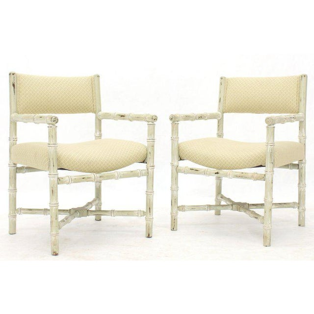 Pair of Distressed Finish Faux Bamboo Capitan Chairs With X Bases For Sale - Image 13 of 13
