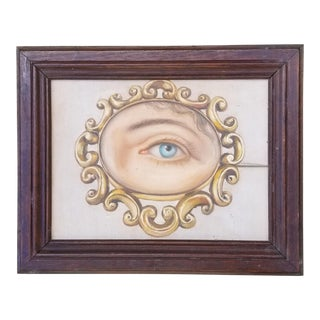 Vintage Oil Portrait Painting of a Victorian Lovers Eye For Sale