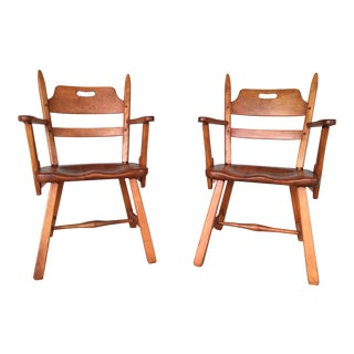 Cushman Colonial Creations Crown Back Arm Chairs - A Pair