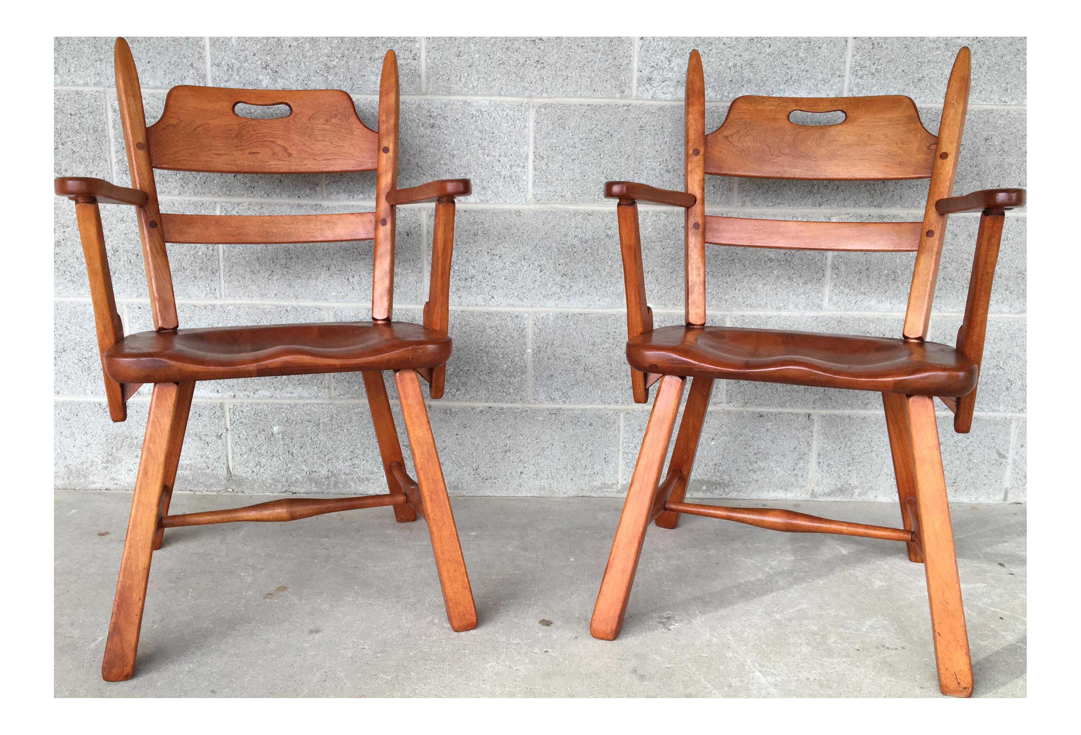 Cushman Colonial Creations Crown Back Arm Chairs   A Pair
