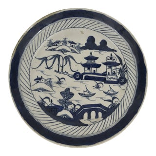 Antique Chinese Blue and White Canton Porcelain Plate For Sale