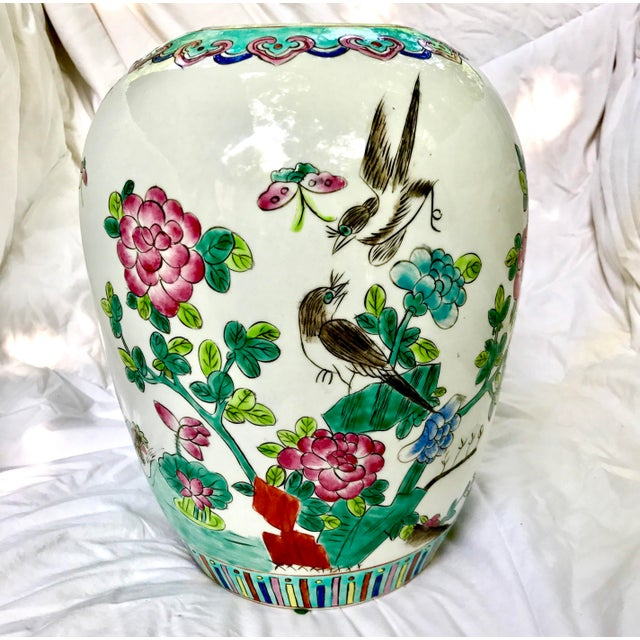 Vintage Large Chinese Famille Rose Mellon Shaped Vase - Image 3 of 6