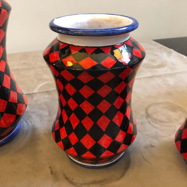 Red Pieces Hand Painted Sicilian Terracotta Albarello Vases - Set of 3 For Sale - Image 8 of 11
