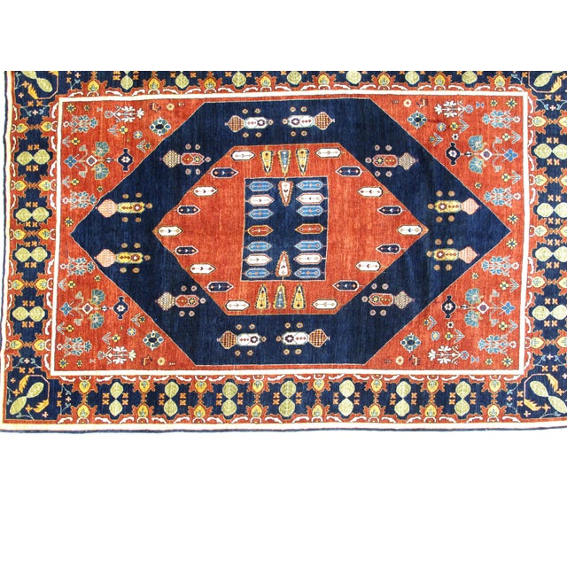 This masterpiece is a wool pile genuine hand made very fine Persian Kashkuli carpet. The piece is in mint condition.