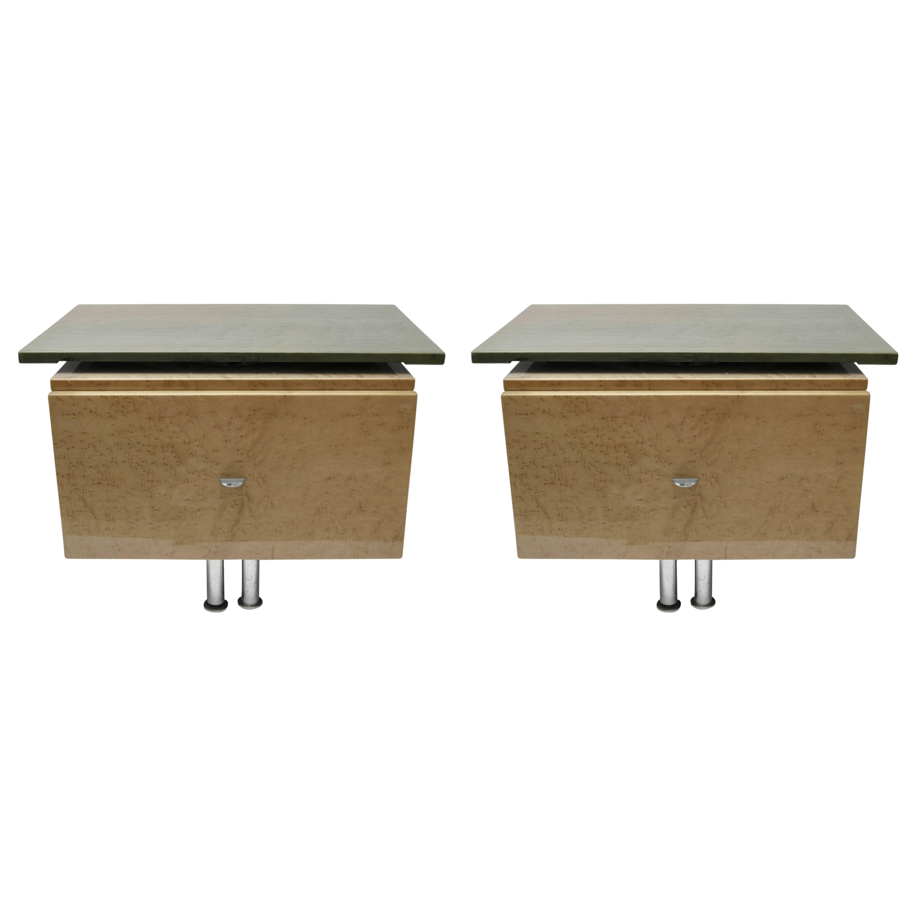 Green And Tan Bird S Eye Maple Wood Nightstands By Saporiti A Pair