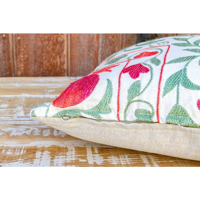Remani Pomegranate & Green Ivy Uzbek Suzani Pillow For Sale In Los Angeles - Image 6 of 9