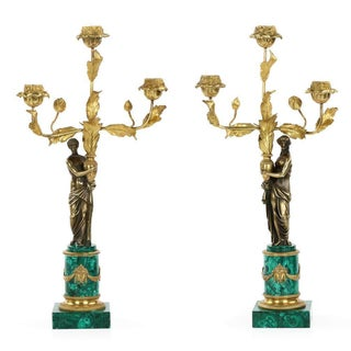 Empire Style Bronze & Malachite Candelabras - A Pair For Sale