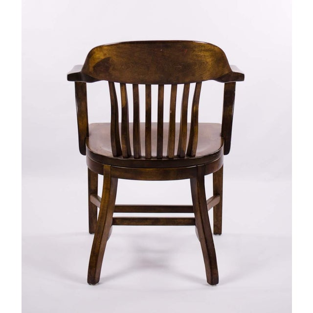 Vintage Mid-Century B. L. Marble Chair Company Walnut Bank of England Style Chair For Sale - Image 12 of 13