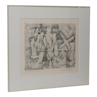 Danny Edwards Abstract Black & White Etching C.1989 For Sale