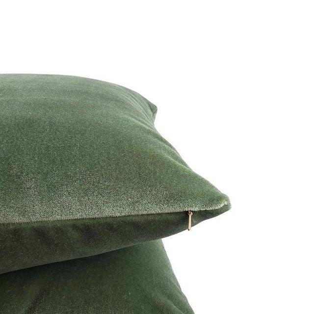 "Textile Pollack Sedan Plush in Eucalyptus Pillow Cover - 20"" X 20"" Sage Green Heavy Velvet Cushion Case For Sale - Image 7 of 8"