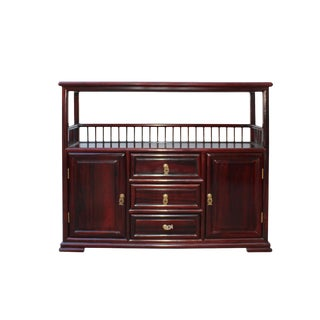Chinese Brown Rosewood Credenza Console Side Table Cabinet For Sale