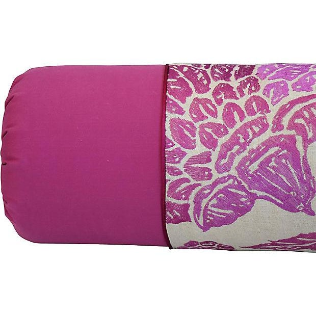Pink Custom Tailored English Embroidered Linen Bolster Feather/Down Pillow For Sale - Image 8 of 12