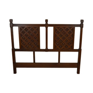 Spanish Colonial Style Vintage Hardwood Full Size Headboard For Sale