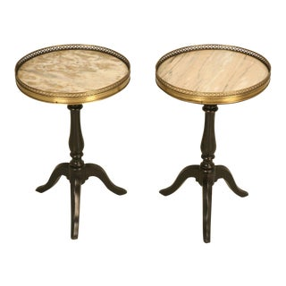 Petite French Wine Tables With Marble Tops - a Pair For Sale