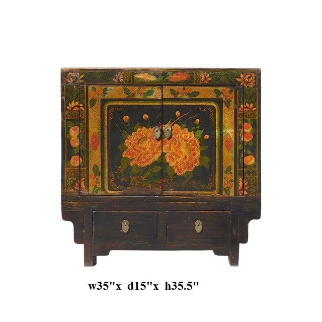 Oriental Black & Orange Floral Side Cabinet For Sale In San Francisco - Image 6 of 6