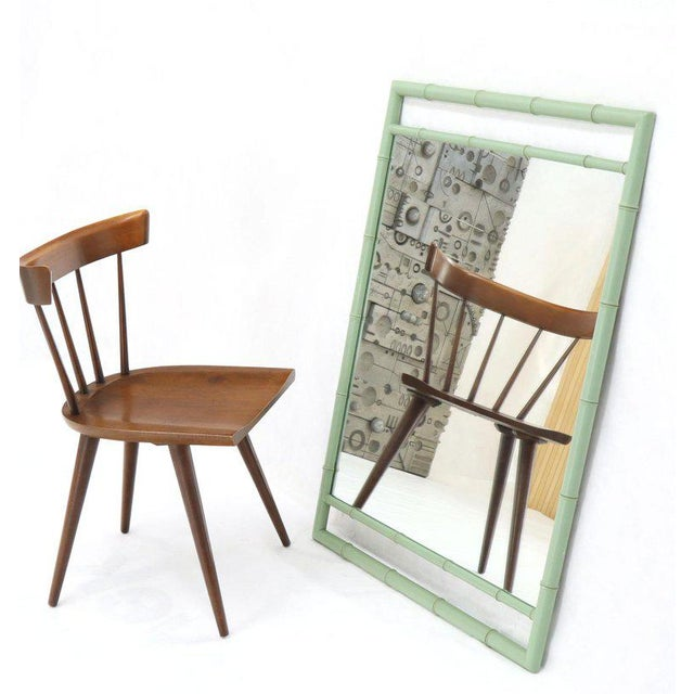 Teal Rectangular Blue Lacquer Faux Bamboo Mirror by Kittinger Mandarin Collection For Sale - Image 8 of 9