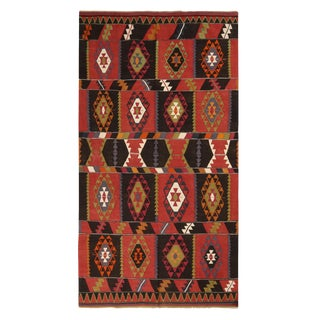 Vintage Esme Geometric Red and Black Wool Kilim Rug With Green and Blue Accents For Sale
