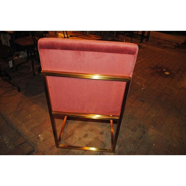 Pink Hollywood Regency Pink Rose Velvet Brass Dining Chairs- Set of 6 For Sale - Image 8 of 10