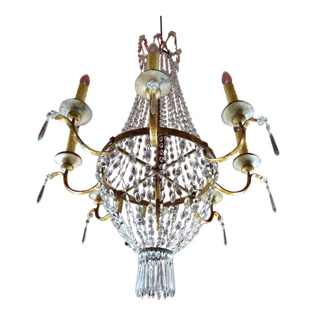 19th Century Italian Crystal and Iron Chandelier For Sale