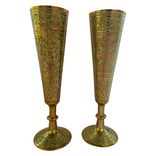 Brass Champagne Flutes - A Pair - Image 1 of 7