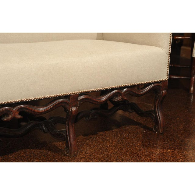 White High Back Sofa with Carved Walnut Base For Sale - Image 8 of 9