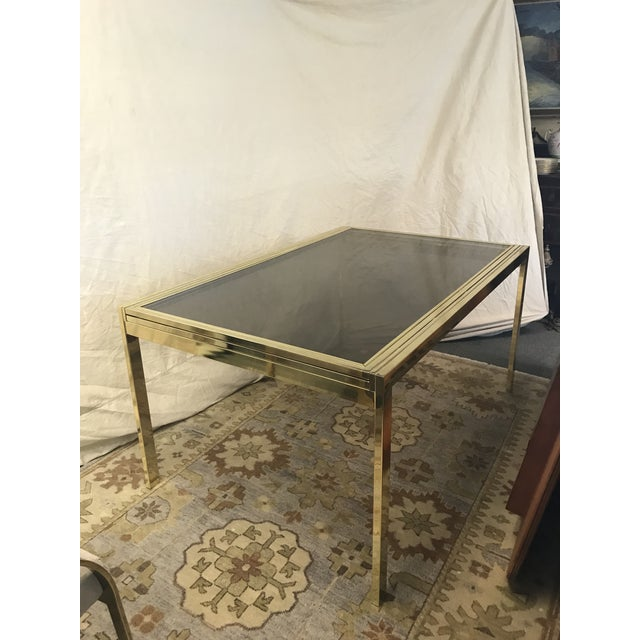 Brass 1970s Modern Milo Baughman Glass Top Extension Dining Table For Sale - Image 7 of 7