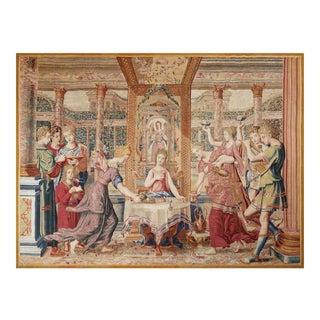 """17th Century Antique Tapestry From Paris - """"Le Repas De Psyché"""" For Sale"""