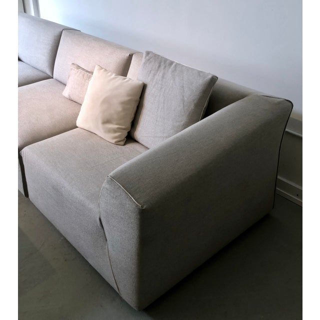 Modern Modular Sofa and Ottoman Light Grey and White Piping by Mdf Italia For Sale - Image 11 of 12