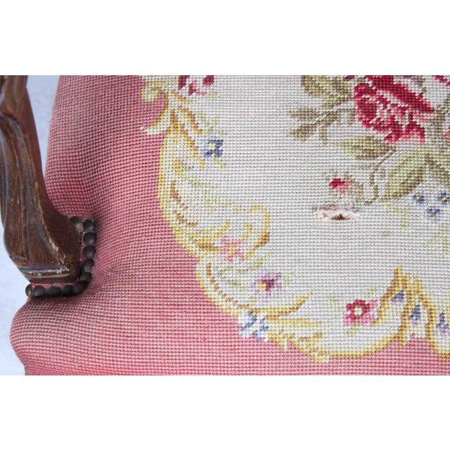 Vintage 1940s Louis XVI-Sty Needlepoint Fauteuil - Image 4 of 4