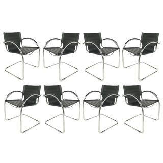 Italian Leather/Tubular Stainless Steel Dining Chairs - Set of 8 For Sale