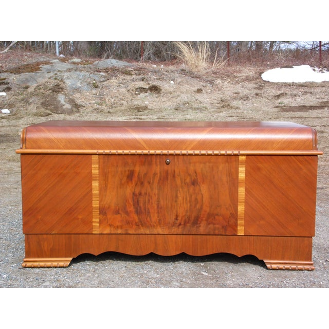 Antique LANE Art Deco Waterfall Cedar Hope Chest Storage Trunk For Sale - Image 13 of 13