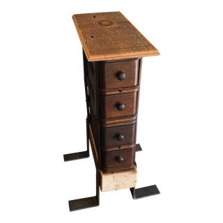 Industrial Repurposed Sewing Drawers Side Table For Sale