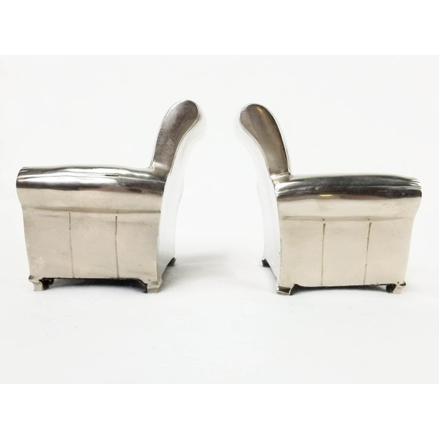 Vintage Silver Finish Cast Metal Lounge Chair Bookends - a Pair For Sale - Image 4 of 10