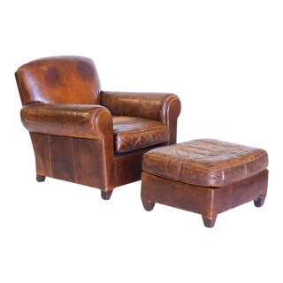 Vintage Early 20th Century French Leather Club Chair and Ottoman For Sale
