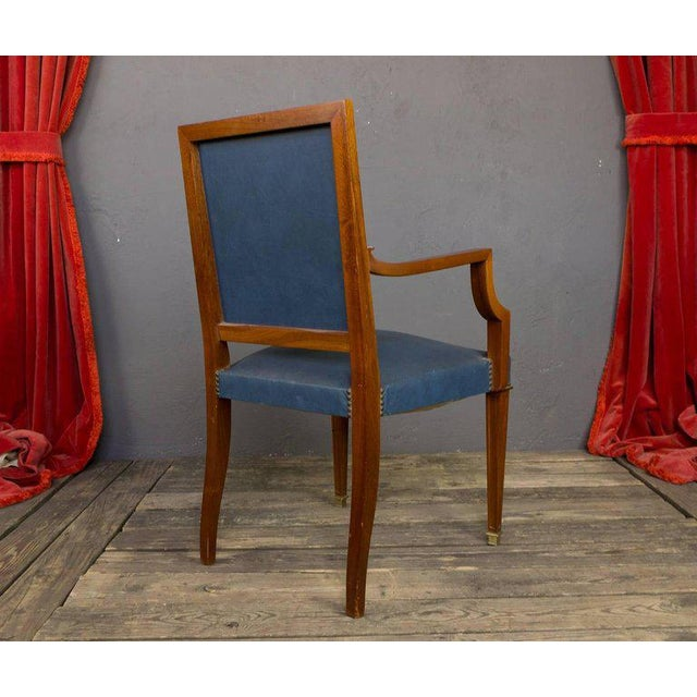 1940s Pair of French, 1940s Mahogany and Leather Armchairs For Sale - Image 5 of 10