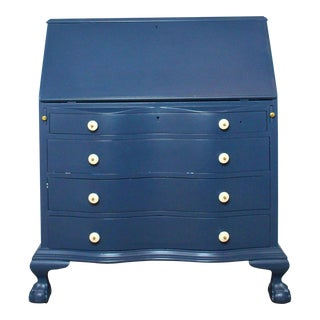 Antique 1920's Blue Secretary Desk With Claw Feet For Sale