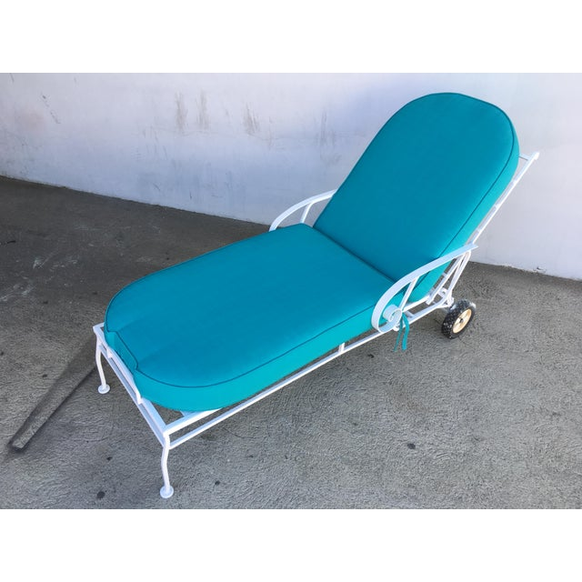 Steel Scrolling Reclining Outdoor / Patio Chaise Lounge by Woodard For Sale - Image 9 of 11