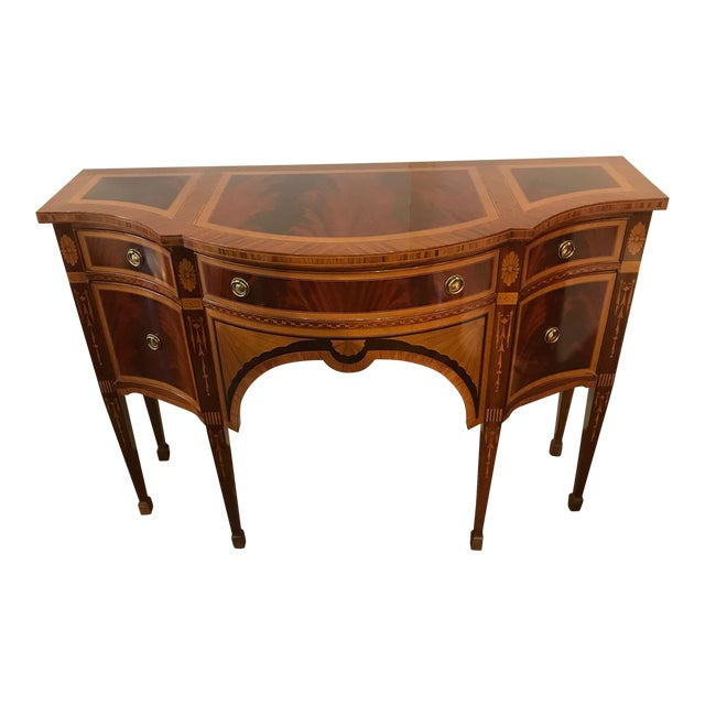 1980s Italian Colombo Mobili Superb Ornately Inlaid Mixed Wood Console For Sale