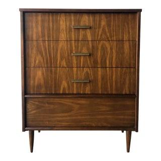Vintage Mid Century Modern Highboy Dresser by Basset Furniture For Sale