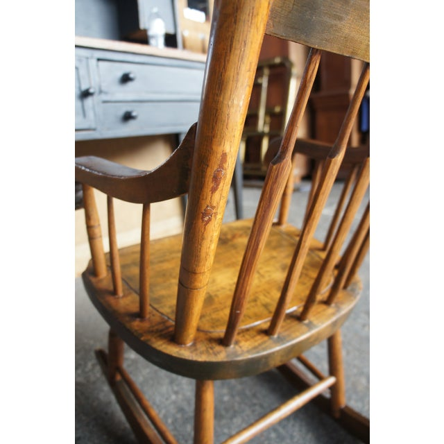 19th Century Antique Chestnut Windsor Comb Back Rocking Chair For Sale - Image 4 of 13