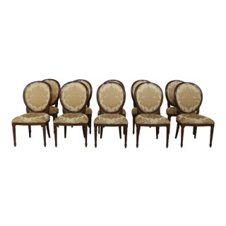 Set of 10 Millander French Louis XVI Style Mahogany Dining Room Chairs For Sale