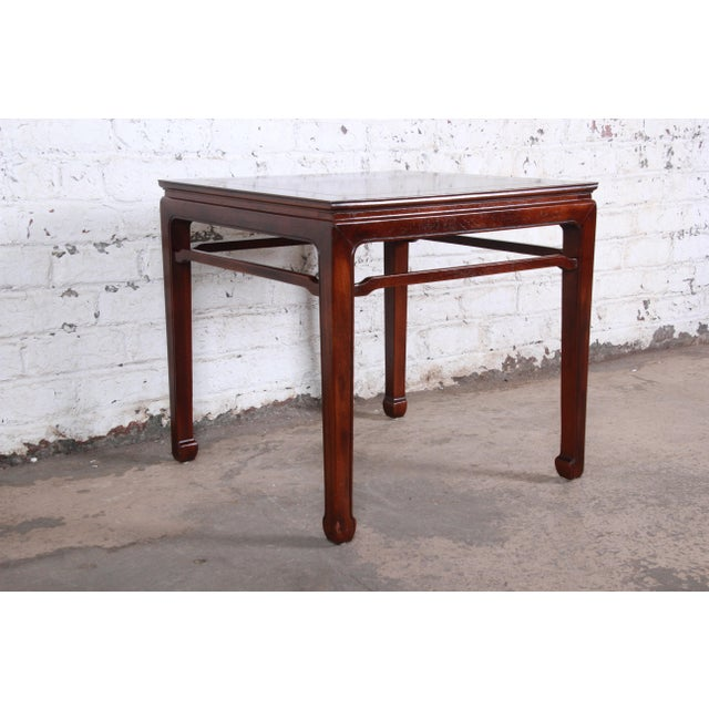 1970s Henredon Hollywood Regency Chinoiserie Burl Wood and Mahogany Side Table For Sale - Image 5 of 7