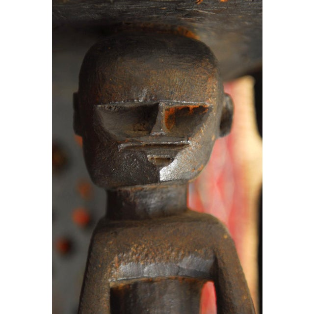 African Carved Tribal Stool with Figural Legs For Sale - Image 10 of 12