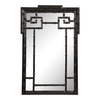 Vintage Ebonized Faux-Bamboo Mirror For Sale