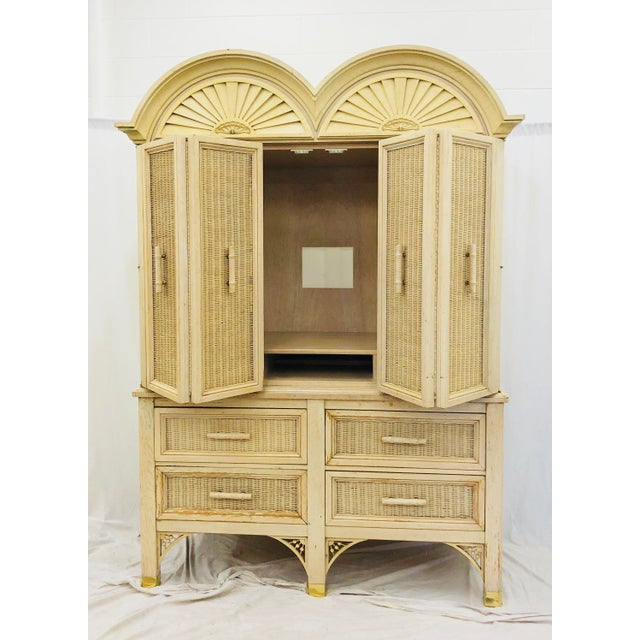 Brass Vintage Faux Bamboo Chippendale Style Hutch For Sale - Image 7 of 13