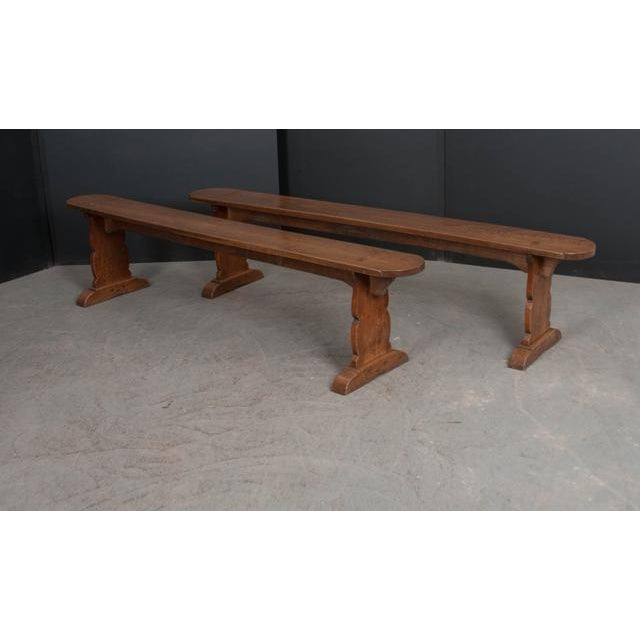 Pair of French 19th Century Provincial Oak Benches For Sale - Image 9 of 13