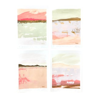 """Contemporary Landscape """"Blushing Dawn Color Study"""" Paintings by Angela Seear - Set of 4 For Sale"""