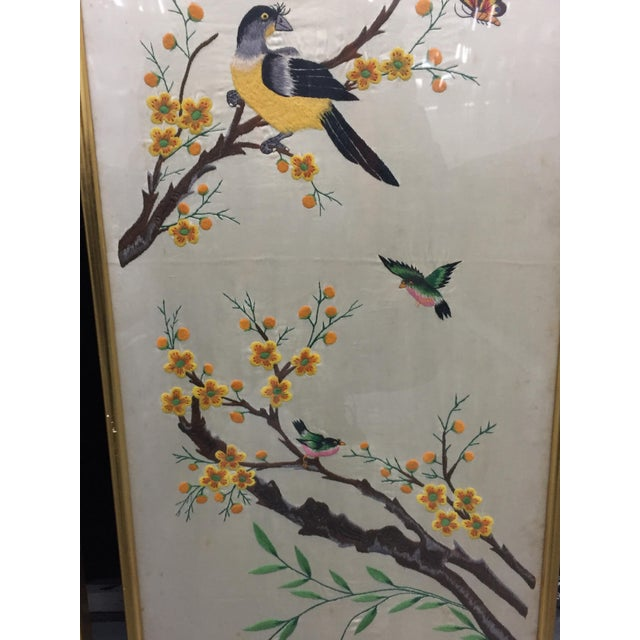 Vintage Mid-Century Chinese Embroidered Rooster and Bird Panels - A Pair For Sale In New York - Image 6 of 11