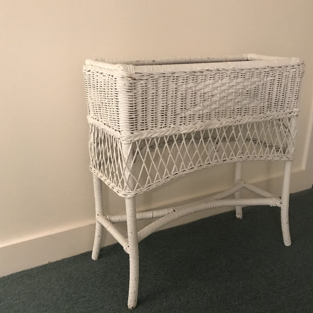 Metal Vintage Wicker Plant Stand For Sale - Image 7 of 13